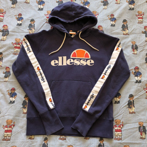 9249826ea Vintage Navy Ellesse Spell Out & Tapered Hoodie (S/M)-Sweatshirts/