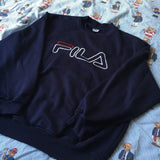 Vintage Navy Fila Sweatshirt (L)-Sweatshirts/Jumpers-DISTINCT - THREADS