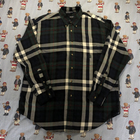 Vintage Navy & Forest Green Check Nautica Button Down Shirt 🌲(L)-Shirts-DISTINCT - THREADS