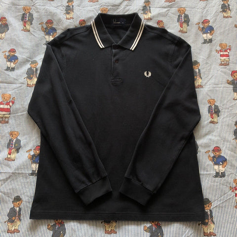 Vintage Navy Fred Perry Long Sleeve Polo Shirt (M)-Polos-DISTINCT - THREADS