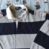 Vintage Navy & Grey Striped Ralph Lauren Rugby Shirt (L)-Rugby Tops-DISTINCT - THREADS