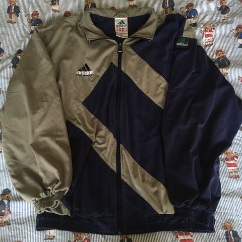 Vintage Navy & Khaki Adidas Equipment Jacket (L)-Jackets/Coats-DISTINCT - THREADS