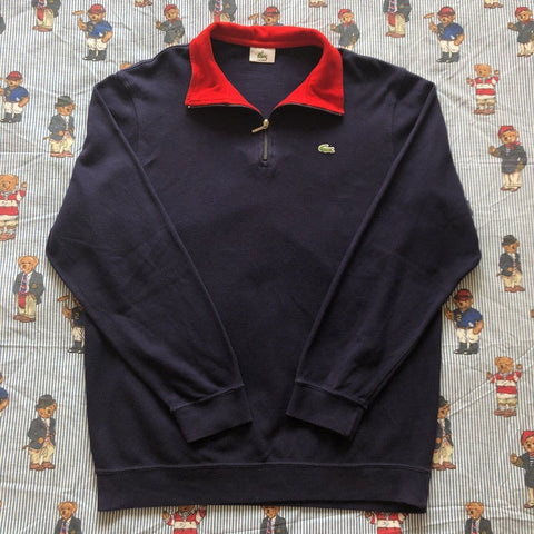 Vintage Navy Lacoste 1/4 Zip Sweatshirt 🐊 (4/M)-Sweatshirts/Jumpers-DISTINCT - THREADS