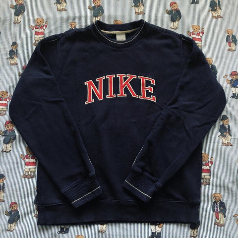 Vintage Navy Nike Spell Out Sweatshirt (M)-Sweatshirts/Jumpers-DISTINCT - THREADS