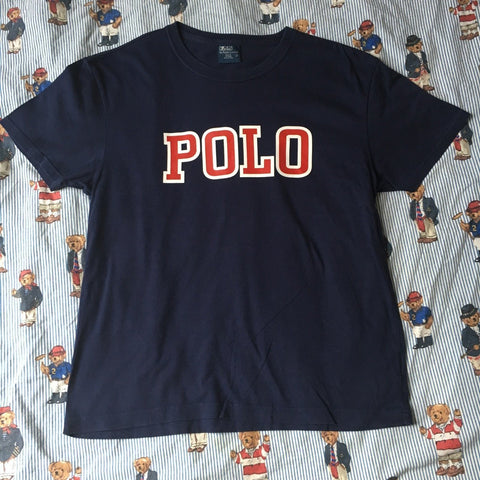Vintage Navy Polo Ralph Lauren Tshirt (S)-T Shirts-DISTINCT - THREADS