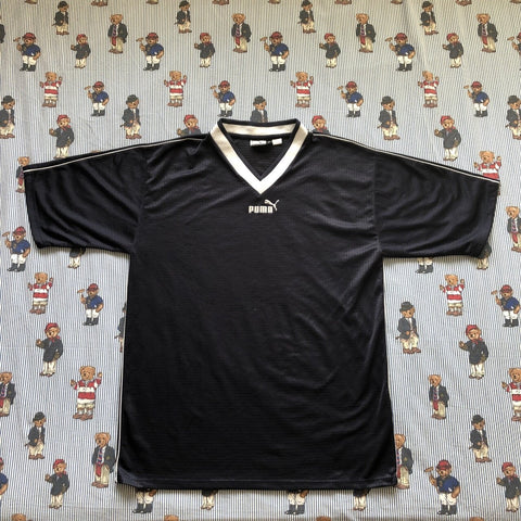 Vintage Navy Puma Football Shirt T Shirt (M)-T Shirts-DISTINCT - THREADS