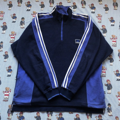 Vintage Navy & Purple Adidas 1/4 Zip Fleece (XL/L)-Fleeces-DISTINCT - THREADS