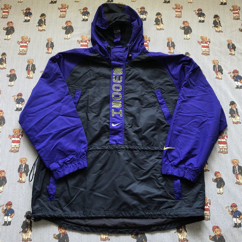 Vintage Navy & Purple Nike Pullover Coat (L)-Jackets/Coats-DISTINCT - THREADS