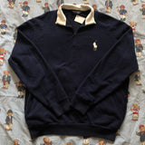 Vintage Navy Ralph Lauren 1/4 Zip Sweatshirt (M)-Sweatshirts/Jumpers-DISTINCT - THREADS
