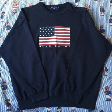 Vintage Navy Ralph Lauren Polo Sport Sweatshirt (XL)-Sweatshirts/Jumpers-DISTINCT - THREADS