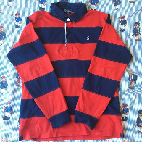 Vintage Navy & Red Ralph Lauren Rugby Shirt (S)-Rugby Tops-DISTINCT - THREADS