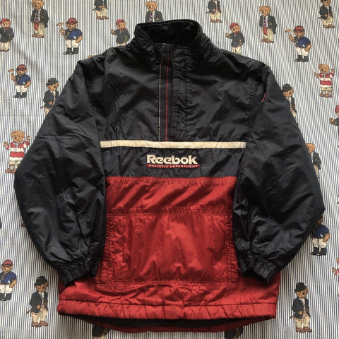 "Vintage Navy & Red Reebok 1/4 Zip Jacket (S/32"")-Jackets/Coats-DISTINCT - THREADS"