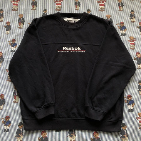 Vintage Navy Reebok Athletic Sweatshirt (L)-Sweatshirts/Jumpers-DISTINCT - THREADS