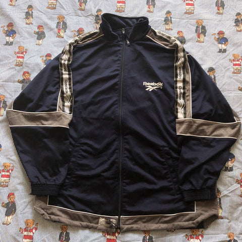 Vintage Navy Reebok Track Jacket (L)-Jackets/Coats-DISTINCT - THREADS