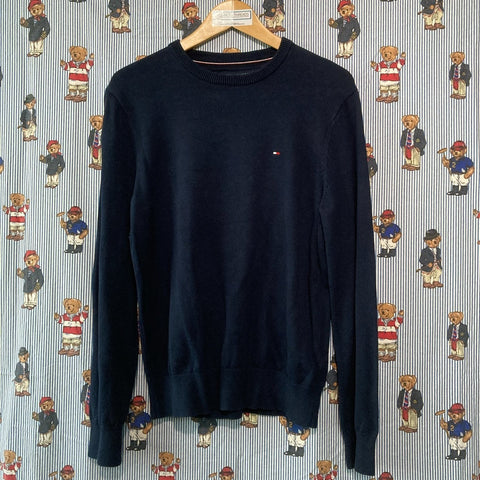 Vintage Navy Tommy Hilfiger Jumper (M)-Sweatshirts/Jumpers-DISTINCT - THREADS