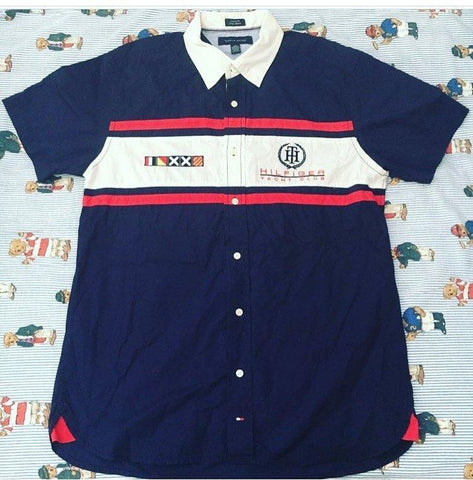 Vintage Navy Tommy Hilfiger Sailing Shirt ⛵️ (L)-Shirts-DISTINCT - THREADS