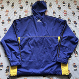 Vintage Navy & Yellow Adidas Pullover Coat (L)-Jackets/Coats-DISTINCT - THREADS