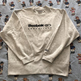 Vintage Oatmeal Grey Reebok Essentials Sweatshirt 🇬🇧 (M)-Sweatshirts/Jumpers-DISTINCT - THREADS