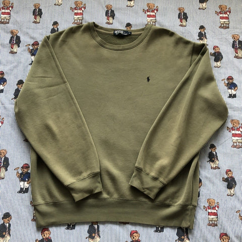 Vintage Olive Green Ralph Lauren Sweatshirt (L)-Sweatshirts/Jumpers-DISTINCT - THREADS