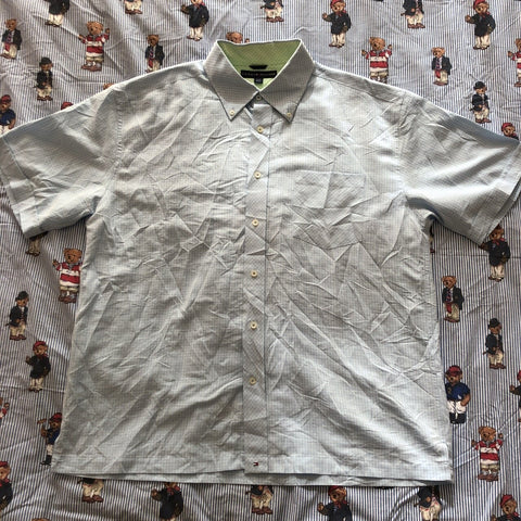 Vintage Pale Blue Tommy Hilfiger Short Sleeved Check Shirt (XL)-Shirts-DISTINCT - THREADS