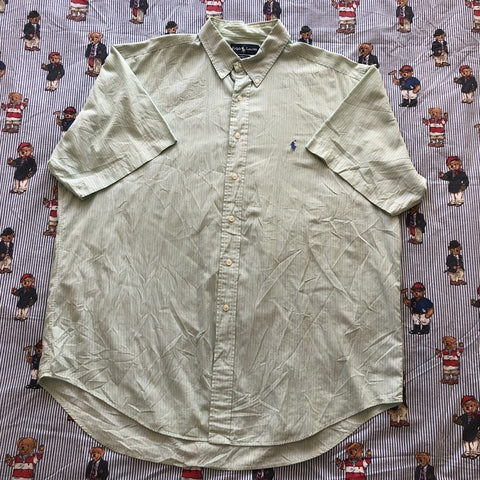 "Vintage Pale Green & Purple Pinstripe Ralph Lauren Button Down Shirt (17"")-Shirts-DISTINCT - THREADS"