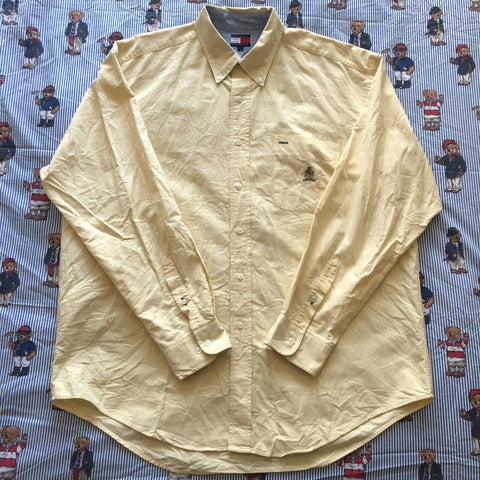Vintage Pale Yellow Tommy Hilfiger Button Down Shirt (L)-Shirts-DISTINCT - THREADS