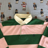 Vintage Pink & Forest Green Ralph Lauren Rugby Shirt 🍬 (XL/L)-Rugby Tops-DISTINCT - THREADS