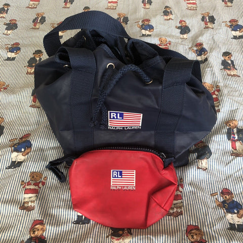 Vintage Polo Sport Ralph Lauren Bag With Matching Purse 🔥-Hats/Accessories-DISTINCT - THREADS