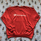 Vintage Red Champion Sweatshirt (XL)-Sweatshirts/Jumpers-DISTINCT - THREADS