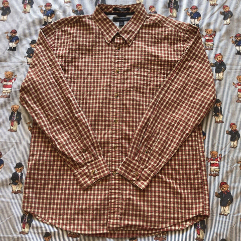 Vintage Red & Cream Check Tommy Hilfiger Button Down Shirt (XL/L)-Shirts-DISTINCT - THREADS