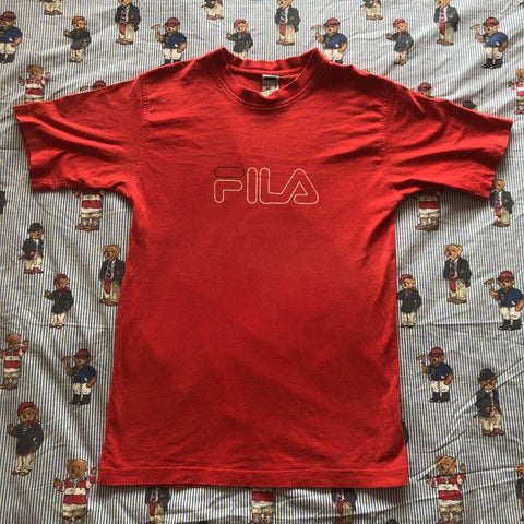 Vintage Red Fila Spell Out T Shirt (M)-T Shirts-DISTINCT - THREADS