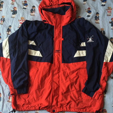 Vintage Red Helly Hansen Twin Sails Jacket (L)-Jackets/Coats-DISTINCT - THREADS