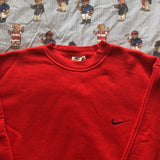 Vintage Red Minimal Nike Sweatshirt (L/XL)-Sweatshirts/Jumpers-DISTINCT - THREADS