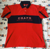Vintage Red & Navy Chaps Ralph Lauren Spell Out Polo Shirt (L/XL)-Polos-DISTINCT - THREADS