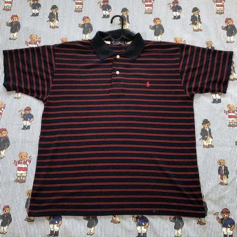 Vintage Red & Navy Ralph Lauren Polo Shirt (M/L)-Polos-DISTINCT - THREADS