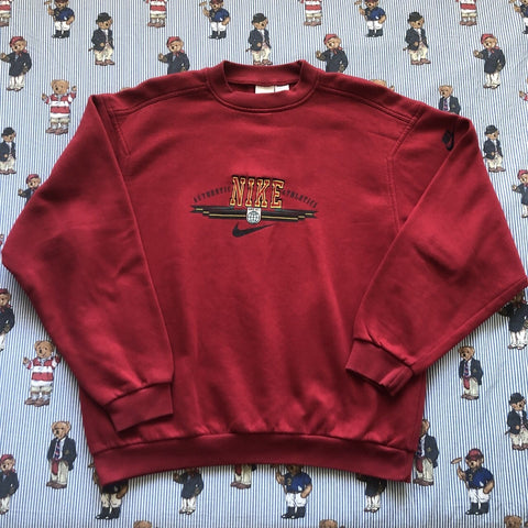 Vintage Red Nike Spell Out Sweatshirt (L)-Sweatshirts/Jumpers-DISTINCT - THREADS