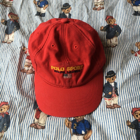 Vintage Red Polo Sport Spell Out Six Panel Cap-Hats/Accessories-DISTINCT - THREADS