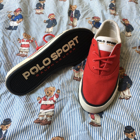 Vintage Red Polo Sport Trainers (UK 6.5)-Footwear-DISTINCT - THREADS