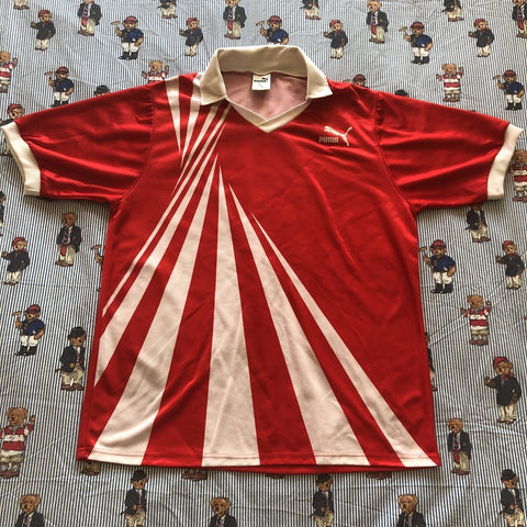 Vintage Red Puma Football Jersey (L) ⚽️-T Shirts-DISTINCT - THREADS