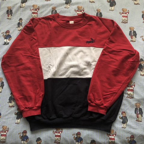Vintage Red Puma Sweatshirt (L)-Sweatshirts/Jumpers-DISTINCT - THREADS