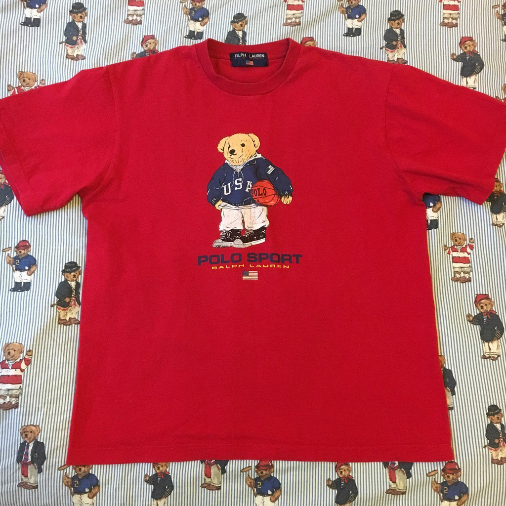 65337c37783b6a Vintage Red Ralph Lauren Polo Sport Polo Bear T Shirt 🐻-T Shirts-DISTINCT