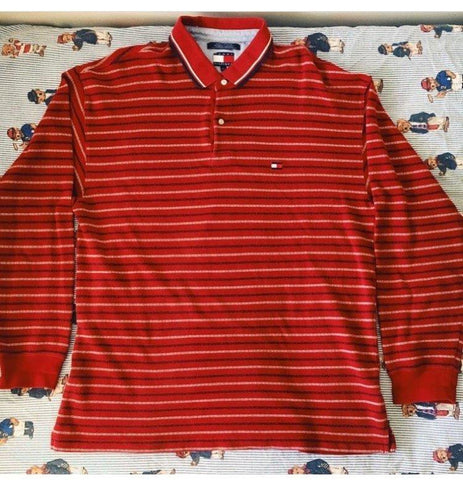 Vintage Red Tommy Hilfiger Long Sleeve Polo Shirt (XL)-Polos-DISTINCT - THREADS