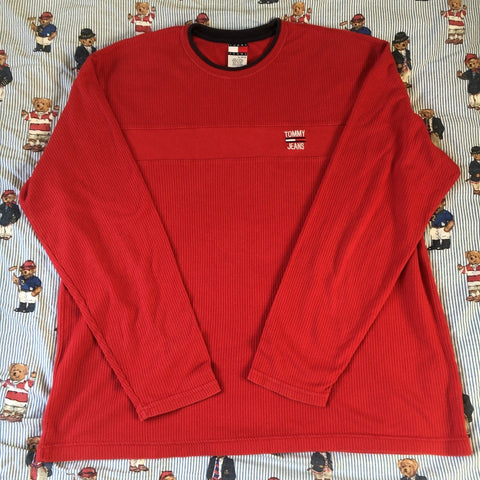 Vintage Red Tommy Hilfiger Long Sleeve Ribbed T Shirt (XL)-T Shirts-DISTINCT - THREADS