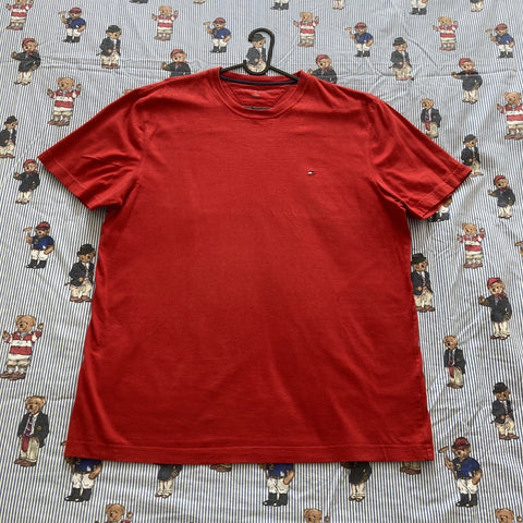 Vintage Red Tommy Hilfiger Tee (L)-T Shirts-DISTINCT - THREADS