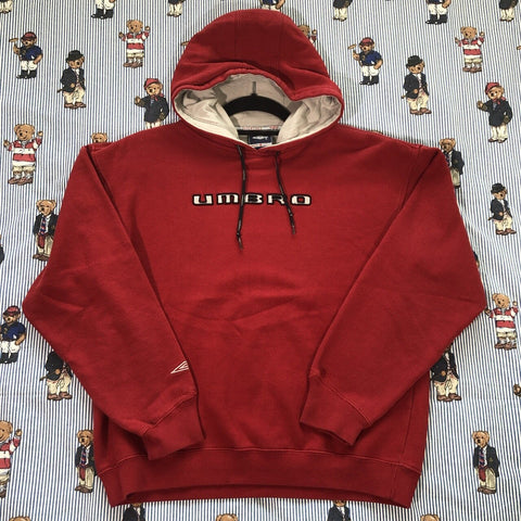 Vintage Red Umbro Spell Out Hoodie (S)-Sweatshirts/Jumpers-DISTINCT - THREADS