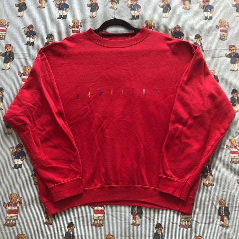 Vintage Red United Colors Of Benetton Sweatshirt (M)-Sweatshirts/Jumpers-DISTINCT - THREADS