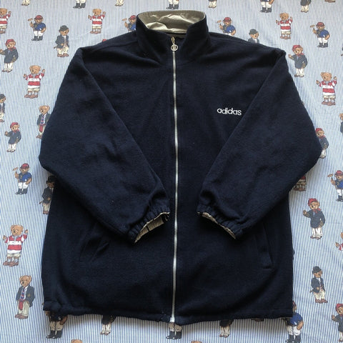 Vintage Silver & Navy Reversible Adidas Fleece/Jacket (L)-Jackets/Coats-DISTINCT - THREADS