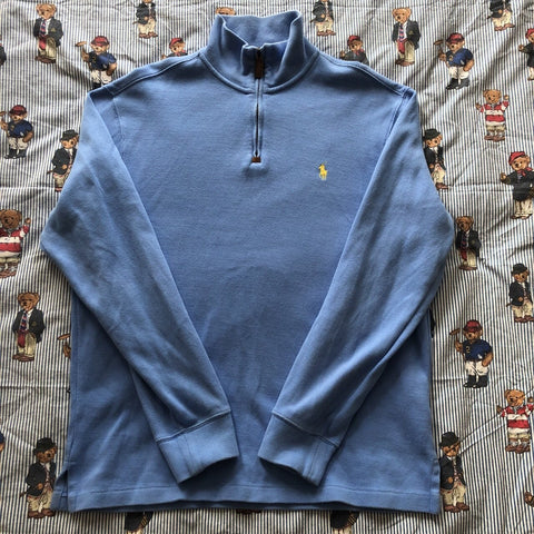Vintage Sky Blue Ralph Lauren 1/4 Zip Sweatshirt (M)-Sweatshirts/Jumpers-DISTINCT - THREADS
