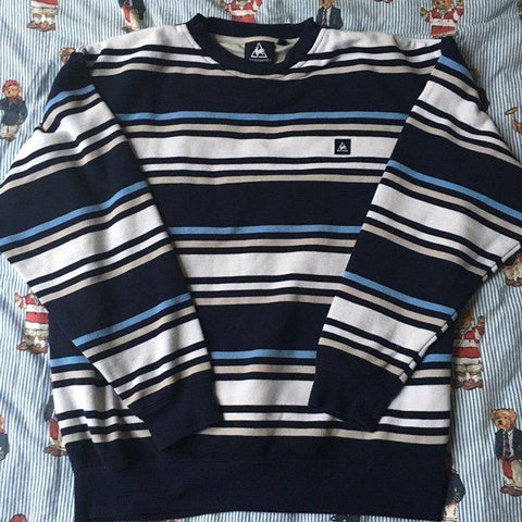 Vintage Striped Le Coq Sportif Sweatshirt (M)-Sweatshirts/Jumpers-DISTINCT - THREADS