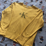 Vintage Sun Yellow Calvin Klein Sweatshirt 🌞 (M)-Sweatshirts/Jumpers-DISTINCT - THREADS